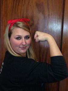 "Whitney as ""Rosie the Riveter"" for Women's History Month at the Darst Center"