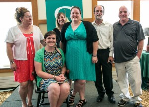 (L-R) Janet DuBray (Parent), (seated) Kelly Quist '03 (friend), Jen Banker '04 (friend), Jolleen Wagner, Paul Hartshorn (Parent), Charles Wagner Jr. (Parent) Credit: Siena College
