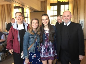 Abbey and Kacie with Br. Tom, Community Director, and Br. Joe Kirk, teacher at DMA