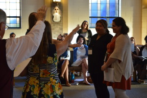 First-year LVs, Carly Cohen and Emily Redfern, being blessed during the Call to Mission Ceremony
